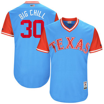 Men's Texas Rangers Nomar Mazara Big Chill Majestic Light Blue 2017 Players Weekend Authentic Jersey