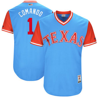 Men's Texas Rangers Elvis Andrus Comando Majestic Light Blue 2017 Players Weekend Authentic Jersey
