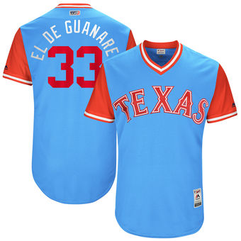 Men's Texas Rangers Martin Perez El de Guanare Majestic Light Blue 2017 Players Weekend Authentic Jersey