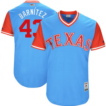 Men's Texas Rangers Tony Barnette Barnítez Majestic Light Blue 2017 Players Weekend Authentic Jersey
