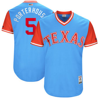 Men's Texas Rangers Mike Napoli Porterhouse Majestic Light Blue 2017 Players Weekend Authentic Jersey