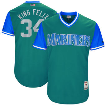 Men's Seattle Mariners Felix Hernandez King Felix Majestic Aqua 2017 Players Weekend Authentic Jersey