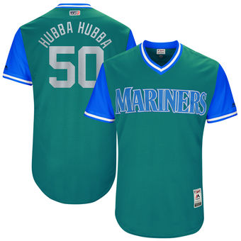 Men's Seattle Mariners Nick Vincent Hubba Hubba Majestic Aqua 2017 Players Weekend Authentic Jersey