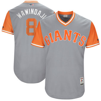 Men's San Francisco Giants Hunter Pence Wawindaji Majestic Gray 2017 Players Weekend Authentic Jersey