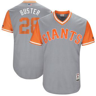 Men's San Francisco Giants Buster Posey Buster Majestic Gray 2017 Players Weekend Authentic Jersey