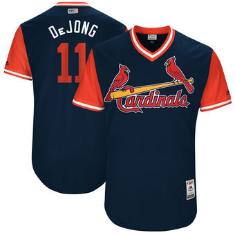 Men's St. Louis Cardinals Paul DeJong DeJong Majestic Navy 2017 Players Weekend Authentic Jersey