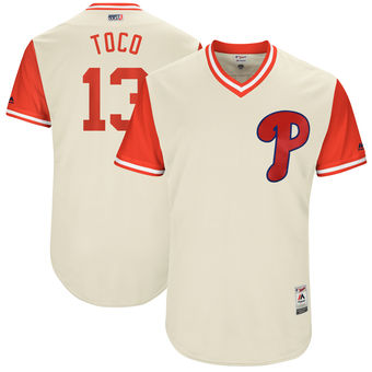 Men's Philadelphia Phillies Freddy Galvis Toco Majestic Tan 2017 Players Weekend Authentic Jersey