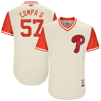 Men's Philadelphia Phillies Luis Garcia Compa G Majestic Tan 2017 Players Weekend Authentic Jersey