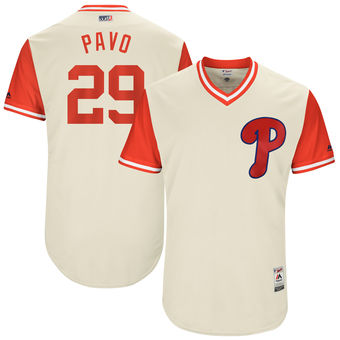 Men's Philadelphia Phillies Cameron Rupp Pavo Majestic Tan 2017 Players Weekend Authentic Jersey