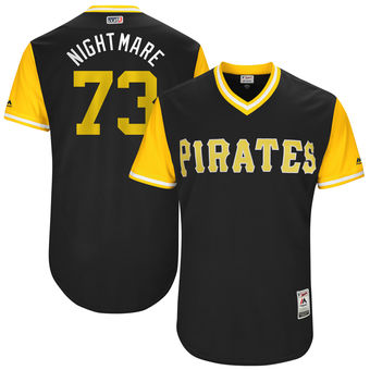 Men's Pittsburgh Pirates Felipe Rivero Nightmare Majestic Black 2017 Players Weekend Authentic Jersey