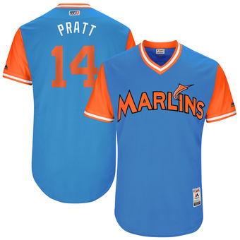 Men's Miami Marlins Martin Prado Pratt Majestic Blue 2017 Players Weekend Authentic Jersey