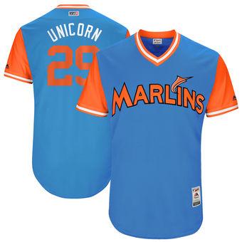 Men's Miami Marlins Brad Ziegler Unicorn Majestic Blue 2017 Players Weekend Authentic Jersey