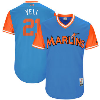 Men's Miami Marlins Christian Yelich Yeli Majestic Blue 2017 Players Weekend Authentic Jersey
