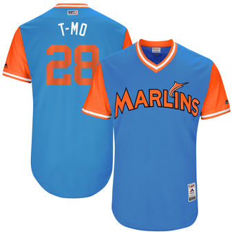 Men's Miami Marlins Tyler Moore T-Mo Majestic Blue 2017 Players Weekend Authentic Jersey