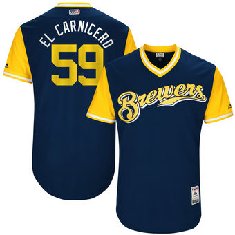 Men's Milwaukee Brewers Carlos Torres El Carnicero Majestic Navy 2017 Players Weekend Authentic Jersey