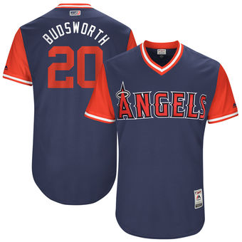 Men's Los Angeles Angels Bud Norris Budsworth Majestic Navy 2017 Players Weekend Authentic Jersey