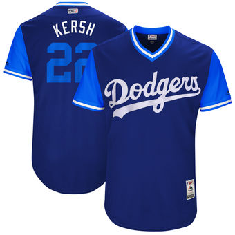 Men's Los Angeles Dodgers Clayton Kershaw Kersh Majestic Navy 2017 Players Weekend Authentic Jersey