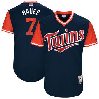 Men's Minnesota Twins Joe Mauer Mauer Majestic Navy 2017 Players Weekend Authentic Jersey