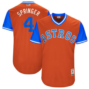 Men's Houston Astros George Springer Springer Majestic Orange 2017 Players Weekend Authentic Jersey