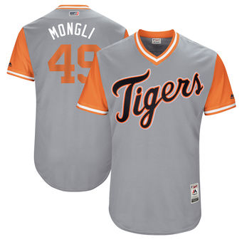 Men's Detroit Tigers Dixon Machado Mongli Majestic Gray 2017 Players Weekend Authentic Jersey