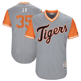 Men's Detroit Tigers Justin Verlander J V Majestic Gray 2017 Players Weekend Authentic Jersey