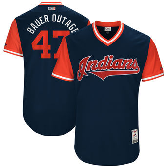 Men's Cleveland Indians Trevor Bauer Bauer Outage Majestic Navy 2017 Players Weekend Authentic Jersey