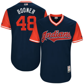 Men's Cleveland Indians Boone Logan Booner Majestic Navy 2017 Players Weekend Authentic Jersey