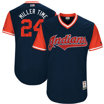 Men's Cleveland Indians Andrew Miller Miller Time Majestic Navy 2017 Players Weekend Authentic Jersey