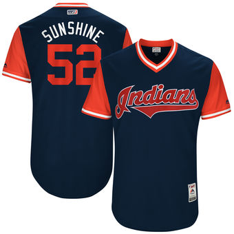 Men's Cleveland Indians Mike Clevinger Sunshine Majestic Navy 2017 Players Weekend Authentic Jersey