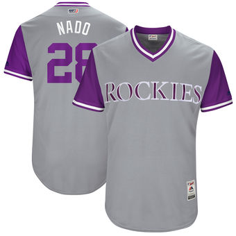 Men's Colorado Rockies Nolan Arenado Nado Majestic Gray 2017 Players Weekend Authentic Jersey