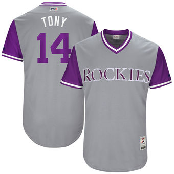 Men's Colorado Rockies Tony Wolters Tony Majestic Gray 2017 Players Weekend Authentic Jersey