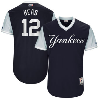 Men's New York Yankees Chase Headley Head Majestic Navy 2017 Players Weekend Authentic Jersey