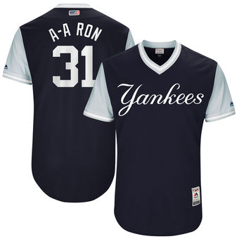 Men's New York Yankees Aaron Hicks A-A Ron Majestic Navy 2017 Players Weekend Authentic Jersey