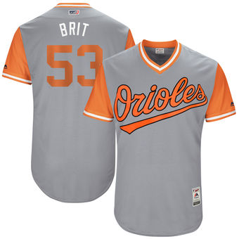Men's Baltimore Orioles Zach Britton Brit Majestic Gray 2017 Players Weekend Authentic Jersey