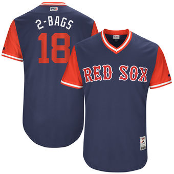 Men's Boston Red Sox Mitch Moreland 2-Bags Majestic Navy 2017 Players Weekend Authentic Jersey