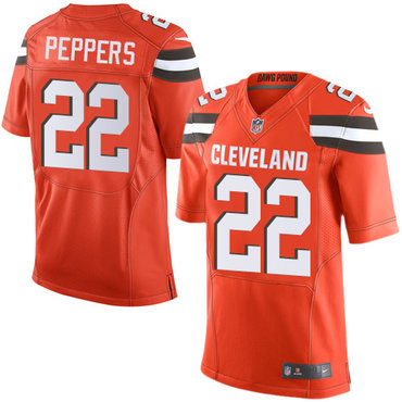 32b632c14aa ... Nike Cleveland Browns 22 Jabrill Peppers Orange Alternate Mens Stitched  NFL New Elite Jersey ...