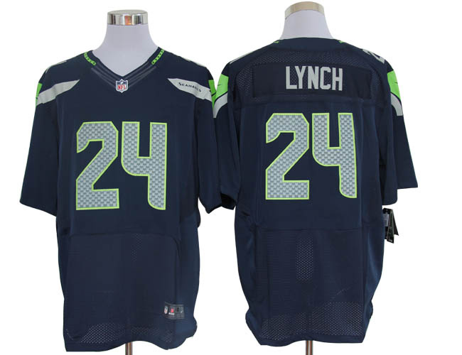 842556e32 Size 60 4XL-Marshawn Lynch Seattle Seahawks #24 Pacific Blue Stitched Nike  Elite NFL