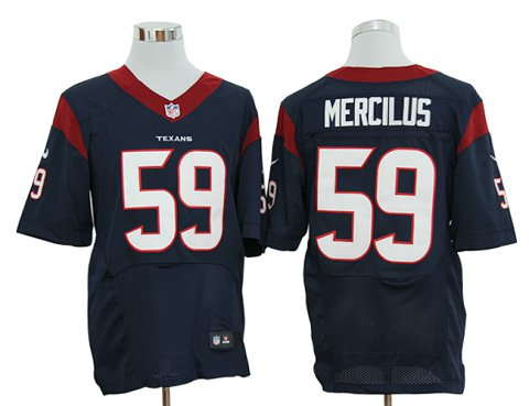 Size 60 4XL-Whitney Mercilus Houston Texans #59 Navy Blue Stitched Nike Elite NFL Jerseys