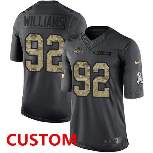 Custom Men's New York Jets Black Anthracite 2016 Salute To Service Stitched NFL Nike Limited Jersey