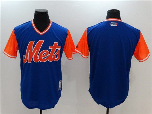 Men's New York Mets Blank Majestic Royal Blue 2017 Little League World Series Players Weekend Stitched Nickname Jersey