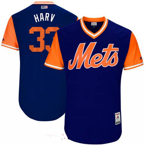 Men's New York Mets Matt Harvey Harv Majestic Royal 2017 Little League World Series Players Weekend Stitched Nickname Jersey