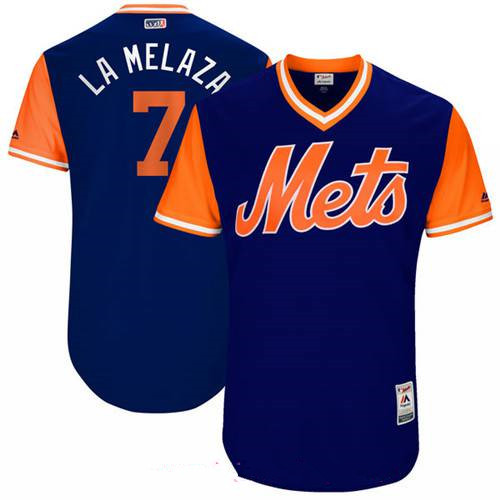 Men's New York Mets Jose Reyes La Melaza Majestic Royal 2017 Little League World Series Players Weekend Stitched Nickname Jersey