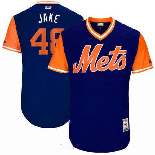 Men's New York Mets Jacob deGrom Jake Majestic Royal 2017 Little League World Series Players Weekend Stitched Nickname Jersey