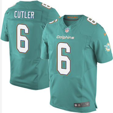 Nike Miami Dolphins #6 Jay Cutler Aqua Green Team Color Men's Stitched NFL New Elite Jersey