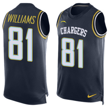 Nike Los Angeles Chargers #81 Mike Williams Navy Blue Team Color Men's Stitched NFL Limited Tank Top Jersey