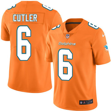 f212cb6f5 ... Nike Miami Dolphins 6 Jay Cutler Orange Mens Stitched NFL Limited Rush  Jersey ...