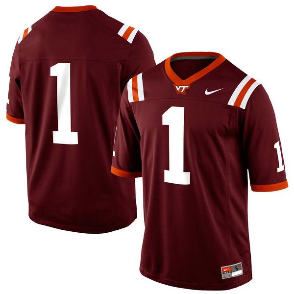 Mens Nike Virginia Tech Hokies #1 Game Football Maroon Jersey