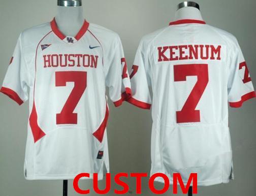 Custom Mens University of Houston White Jersey