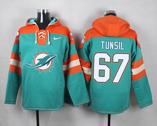 Nike Miami Dolphins #67 Laremy Tunsil Aqua Green Player Pullover NFL Hoodie
