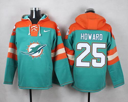Nike Miami Dolphins #25 Xavien Howard Aqua Green Player Pullover NFL Hoodie